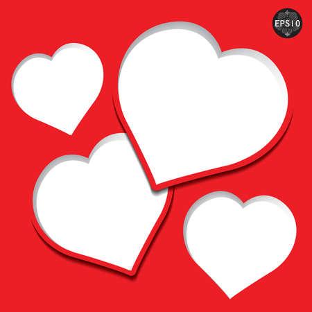 발렌타인 데이 카드 심장 모양의 종이, 벡터, EPS10