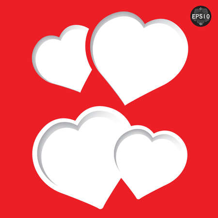 Valentines day card heart form paper, vector, eps10 Illustration