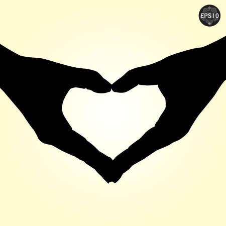 Silhouette hand in love shape,vector,eps10 Illustration