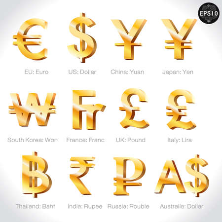 Currency signs - dollar, euro, yen, yuan, won,franc,pound,lir a, baht, rupee, rouble, pound. Vector money symbol. Illustration
