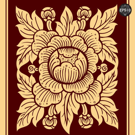 Antique THAI Flower Art, Vector, Thailand Vector