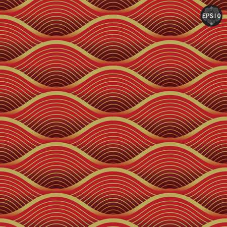 Close up Red waves pattern, Thai traditional art  Vector