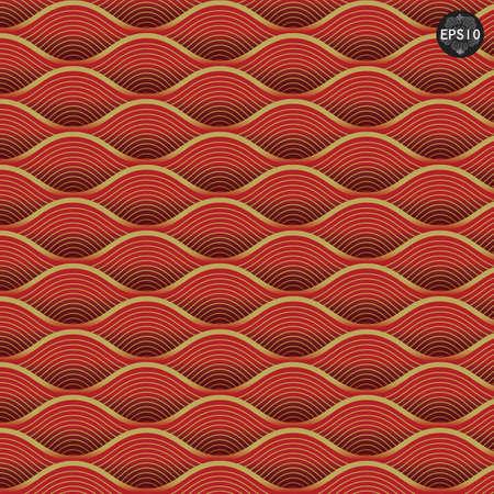 붉은 파도 패턴, 태국 전통 아트 벡터 일러스트