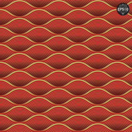 Red waves pattern, Thai traditional art  Vector