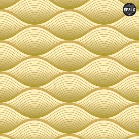 골드 파도 패턴, 태국 전통 예술 벡터를 닫습니다 일러스트