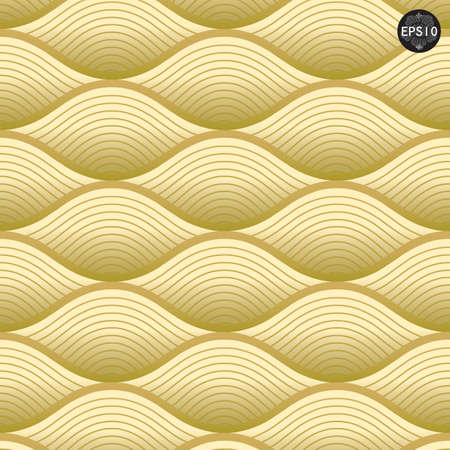 Close up Gold waves pattern, Thai traditional art  Vector