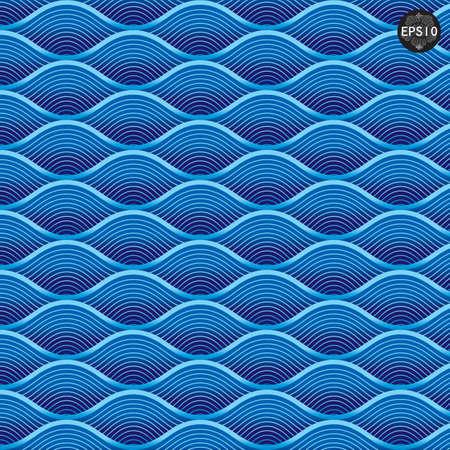 푸른 파도를 닫습니다 패턴, 태국 전통 예술 벡터 일러스트