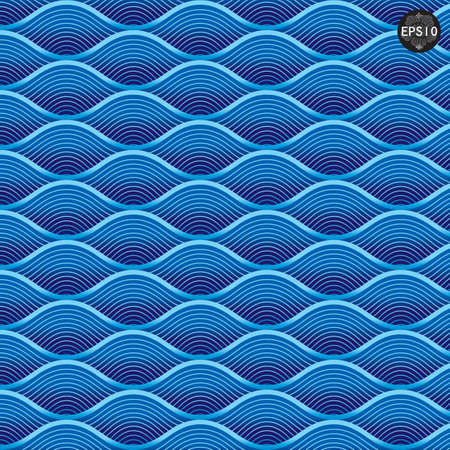 Close up Blue waves pattern, Thai traditional art  Vector Illustration