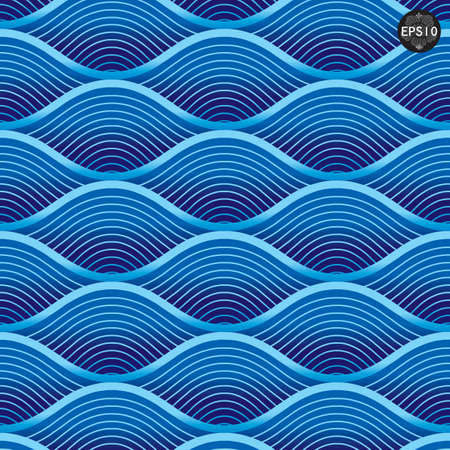 Blue waves pattern, Thai traditional art  Vector Vector