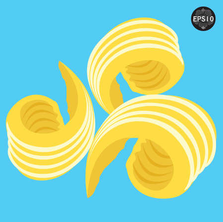 kitchen studio: Beautiful Butter curls, Vector Illustration