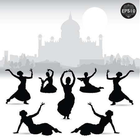 타지 마할, 벡터, 일러스트 레이터 앞에서 춤 인도 여성