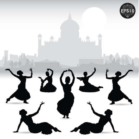 Indian women dancing In front of Taj mahal, Vector, Illustrator Stock Vector - 17399771