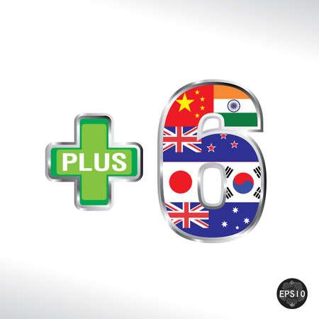 Asean Economic Community Plus Six, AEC, Vector Illustration
