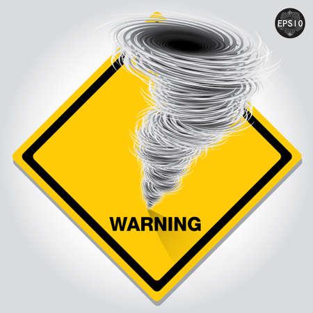 evacuatie: Hurricane waarschuwingsbord, Vector Stock Illustratie