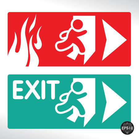 Emergency fire exit door and exit door, Vector, Illustrator Illustration