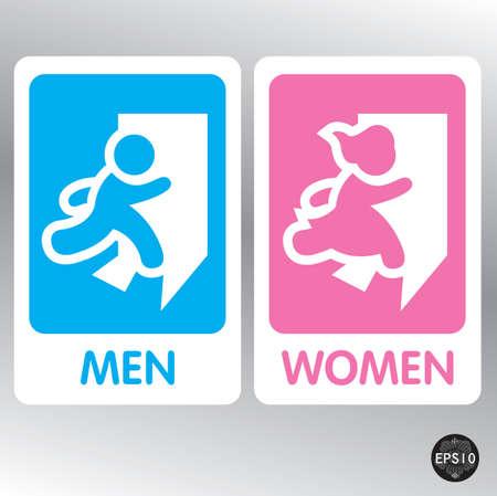 pis: Restroom Ilustración Signos, Vector