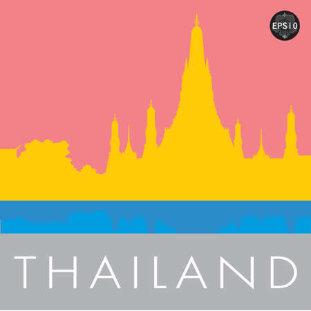 Wat Arun Temple in bangkok thailand, Vector