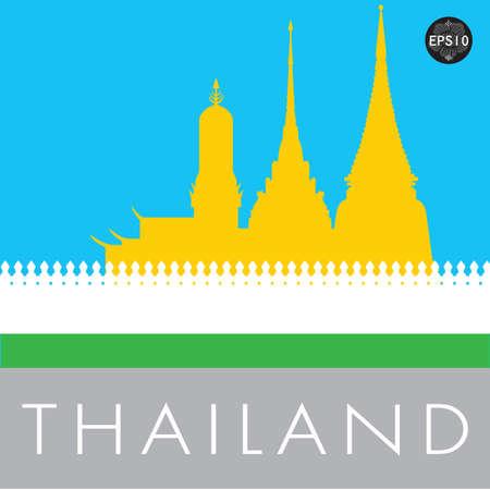 에메랄드 불상의 왓 프라 깨 사원, 태국 방콕에있는 왕실 예배당, 벡터 일러스트