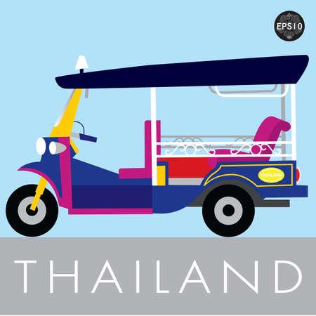 태국, 벡터의 방콕에있는 태국 전통 툭툭 일러스트