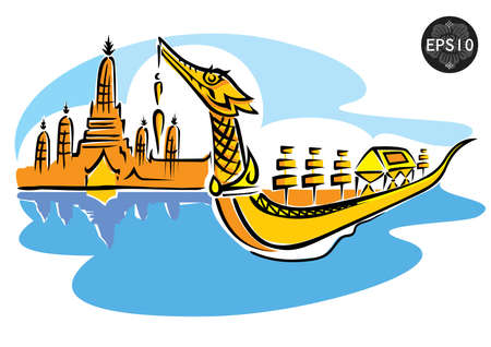 bangkok: Central of Thailand, Royal Barge Suphannahong, Wat Arun, Bangkok, Vector Illustration