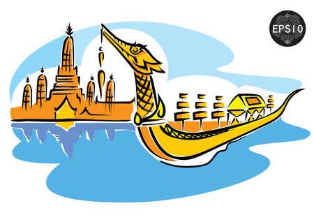 buddhist temple: Central of Thailand, Royal Barge Suphannahong, Wat Arun, Bangkok, Vector Illustration