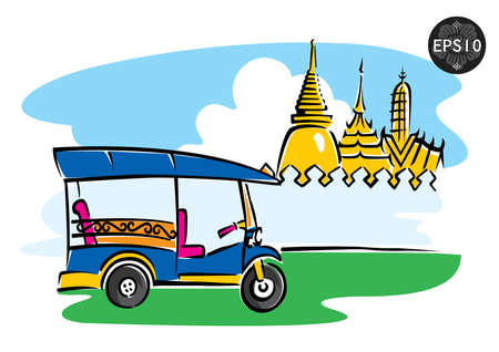 thai art: Central of Thailand, Tuk Tuk in front of grand palace, Bangkok, vector