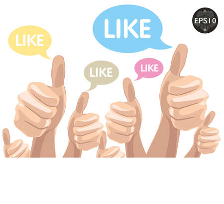 praise: Like Thumbs Up symbol hand drawn, vector Eps10 illustration  Illustration