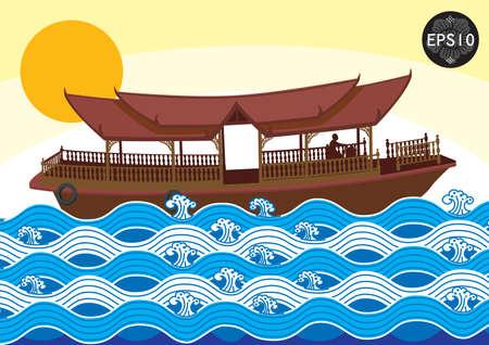 태국, 벡터의 전통 예술의 보트 일러스트