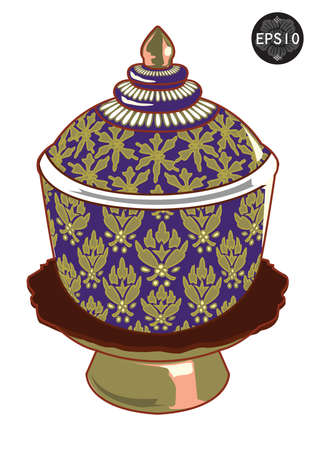 Thai s design of bowl isolated, Vector, Thailand