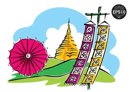 태국, 도이 수텝 치앙마이, 벡터 북부 일러스트