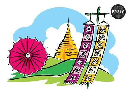 Northern of Thailand, Doi Suthep Chiang Mai, vector Illustration