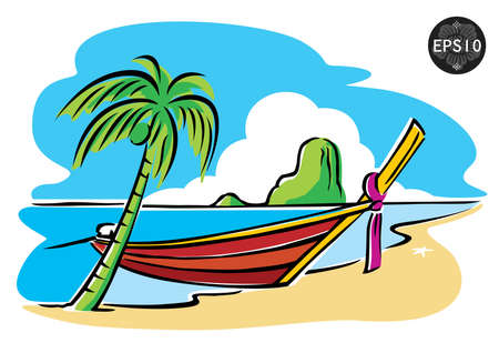 Southern of thailand, Phi Phi Island, Krabi, vector Illustration