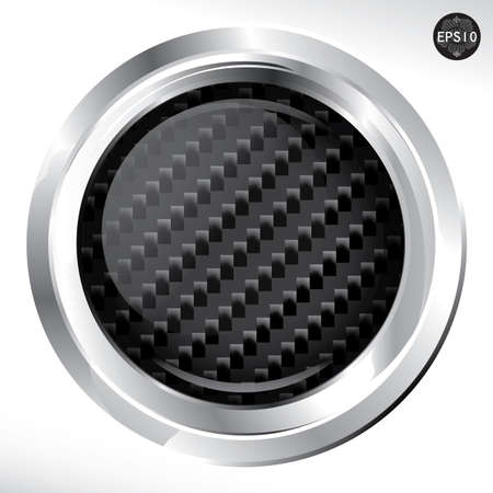 Carbon Kevlar Button big pattern, Vector Illustration