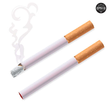 Cigarette burns and not burns. Illustration on white background. Vector Stock Vector - 17399781