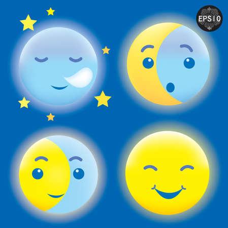 luna caricatura: Dormir y sonriente Luna