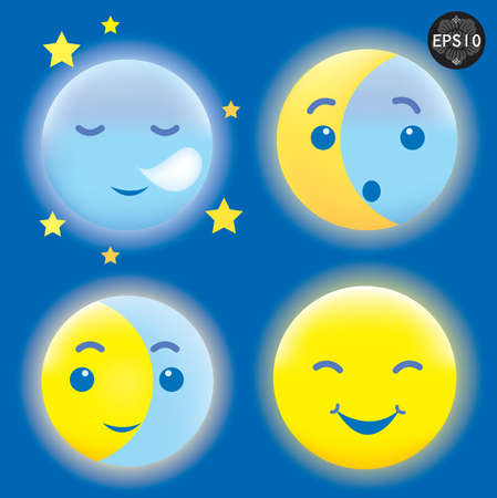 lunar phases: Sleeping and Smiling Moon Illustration