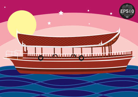 The Boat in tradition art of Thailand, Vector Illustration