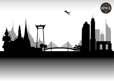 방콕 도시의 스카이 라인, 현대의 도시, 태국, 벡터