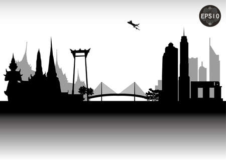 thai buddha: BANGKOK CITY SKYLINE, CONTEMPORARY CITY, THAILAND, Vector