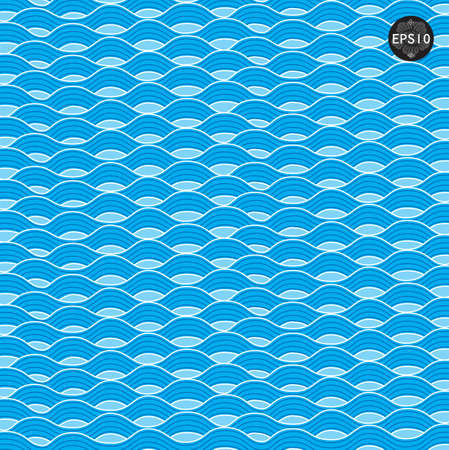 Blue waves pattern in thai traditional art. Vector Illustration