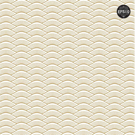 Gold waves pattern in thai traditional art. Vector