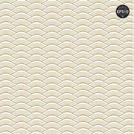 rippled: Le onde d'oro pattern in arte tradizionale tailandese. Vettore