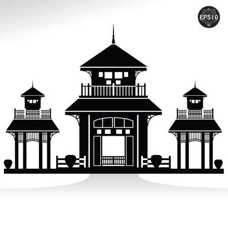 Thai vintage pavilion Vector illustration isolated on white background