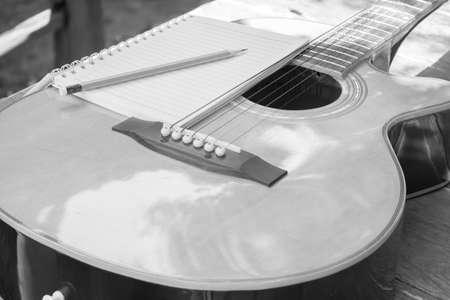 Acoustic guitar in garden photo