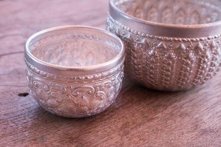 bronze bowl: Silverware Stock Photo