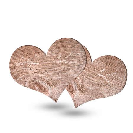 Herz aus Holz auf weißem Hintergrund Standard-Bild - 80224322
