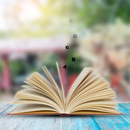 Open book on wood planks with garden background Stock Photo