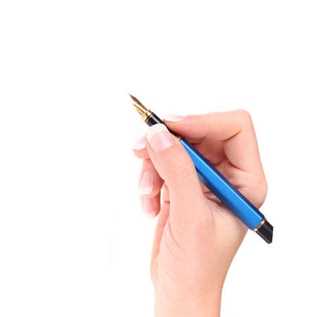 Writting with hand for education on white background Stock Photo