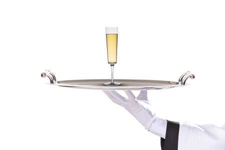 waiter with tray with white wine on white background