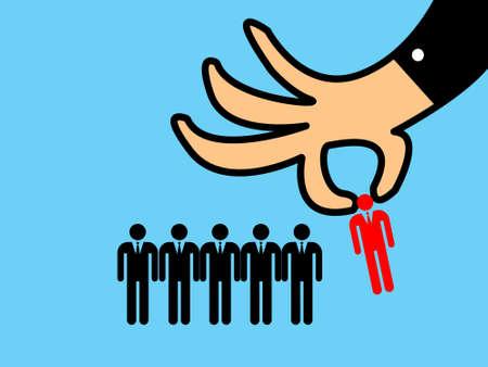 recruitment concept, man choosing worker Stock Photo